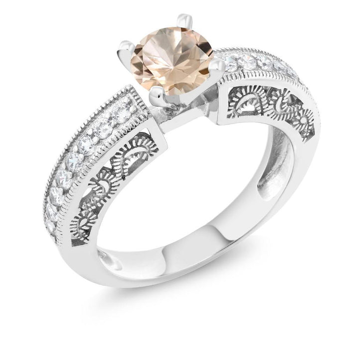 Alexandra Round Peach Morganite Ring