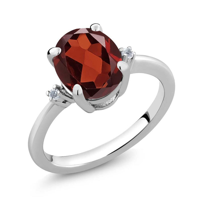 Aneta Red Oval Garnet & Topaz Ring