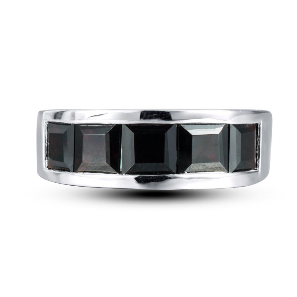 Marina Square Black Garnet Ring