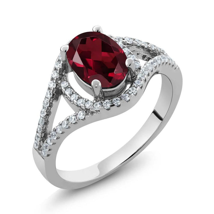 Barka Red Oval Garnet & Zirconia Ring