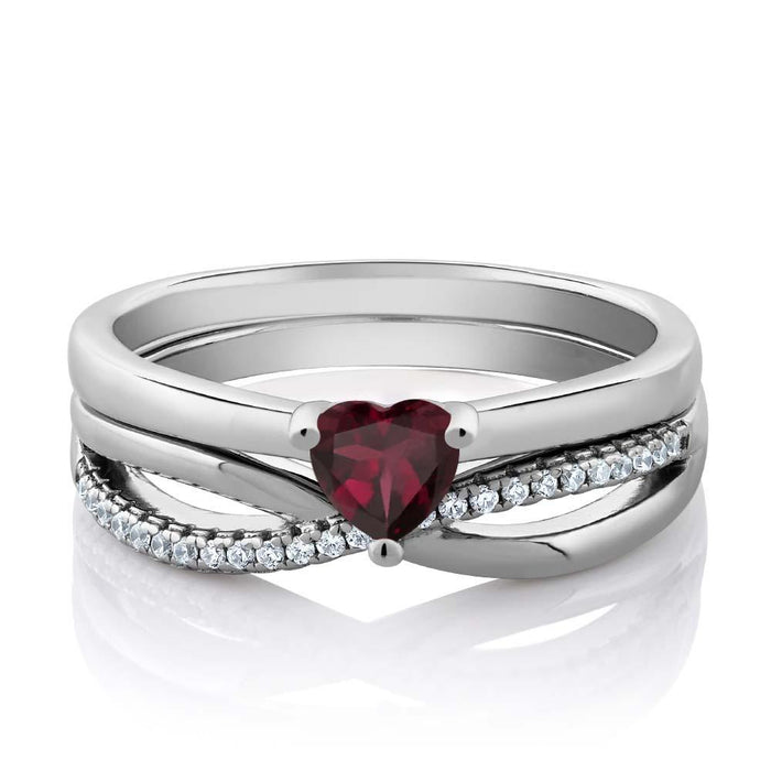 Barèinka Red Heart Garnet & Zirconia Double Ring