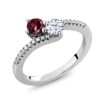 Barbora Red Round Garnet & Topaz Ring