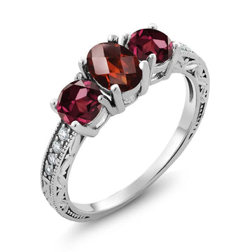 Arnost Red Oval Garnet & Zirconia Ring