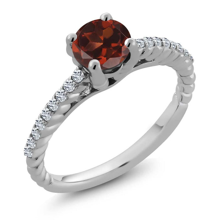 Alojz Red Round Garnet Ring