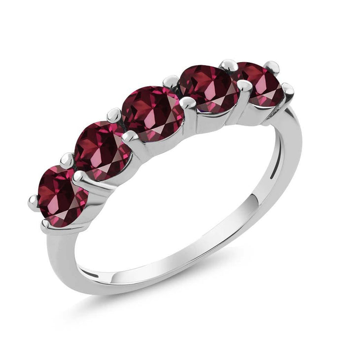 Alica Red Round Garnet Ring