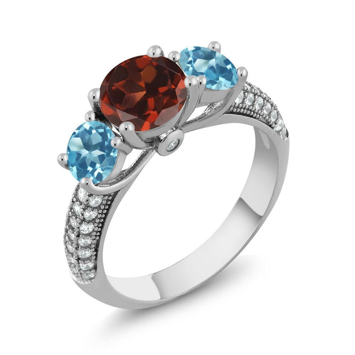 Alexandr Red Round Garnet & Swiss Topaz Ring