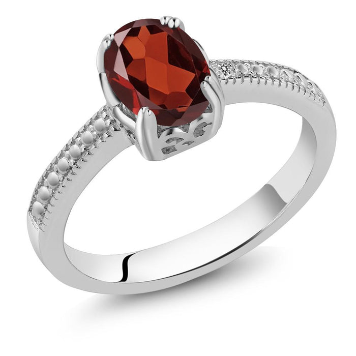 Adéla Oval Red Garnet & Diamond Ring