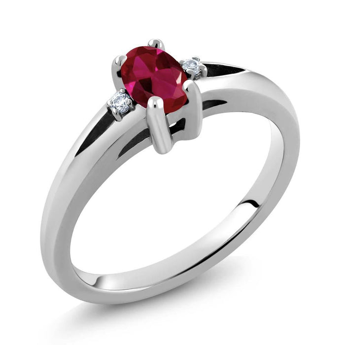 Adela Oval Ruby & White Zirconia Ring