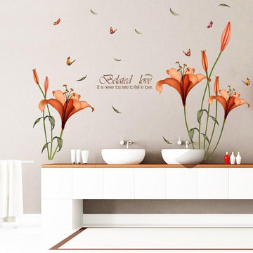 Red Lily Flowers Wall Stickers