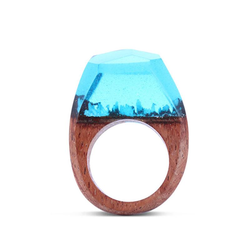 Tropical Blue Secret Forest Resin Ring