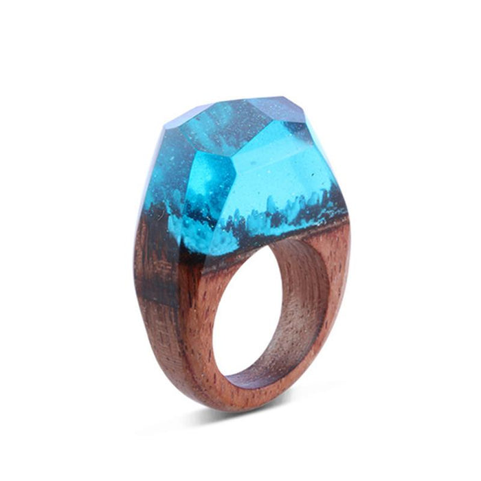 Tropical Blue Secret Forest Wood Ring