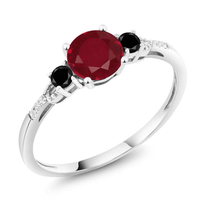 Alain Round Ruby, Black Diamond & White Gold Ring