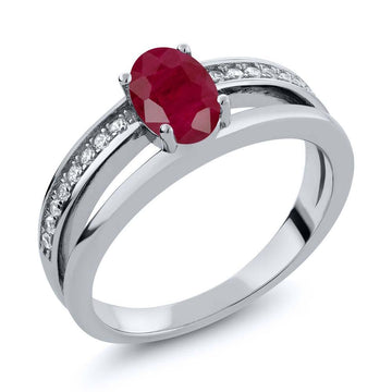 Aimee Oval Ruby & White Zirconia Ring