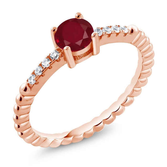 Adele Round Ruby, White Zirconia & Rose Gold Ring