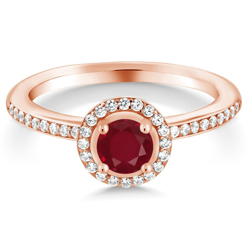 Adelaide Round Ruby, White Zirconia & Rose Gold Ring