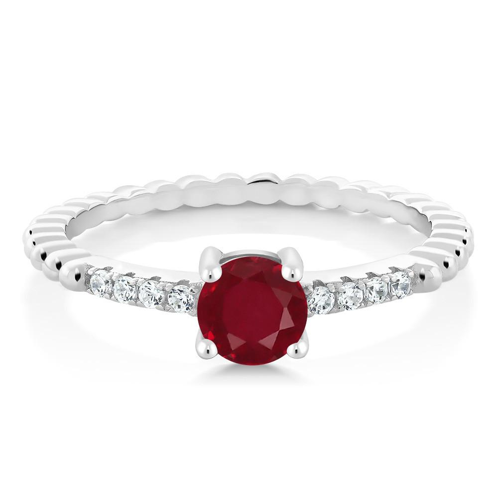 Adalyn Oval Ruby & White Zirconia Ring