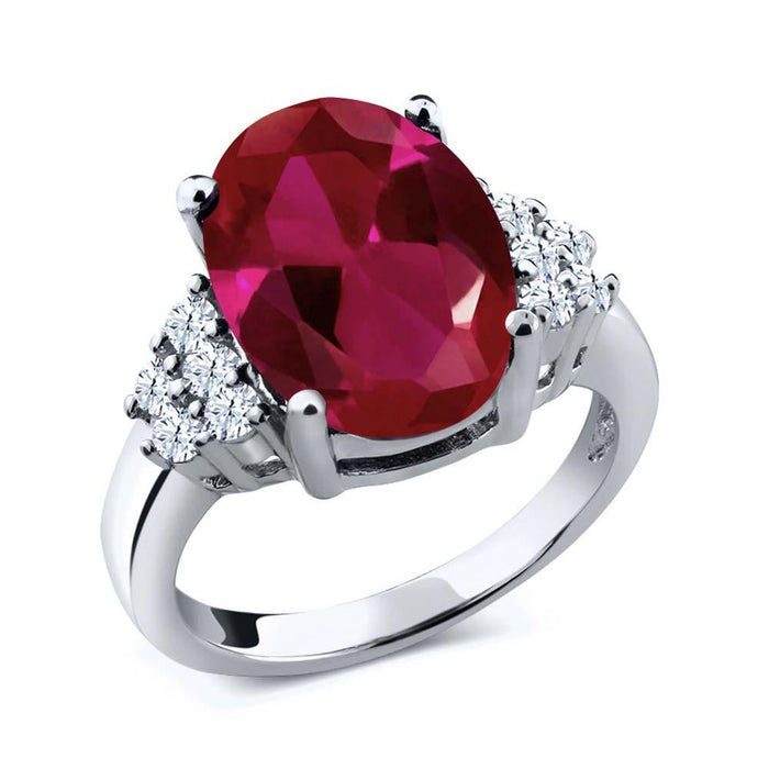 Adaliz Oval Ruby & White Topaz Ring