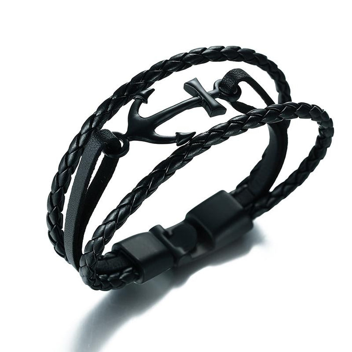 Anchor Black Leather Bracelet