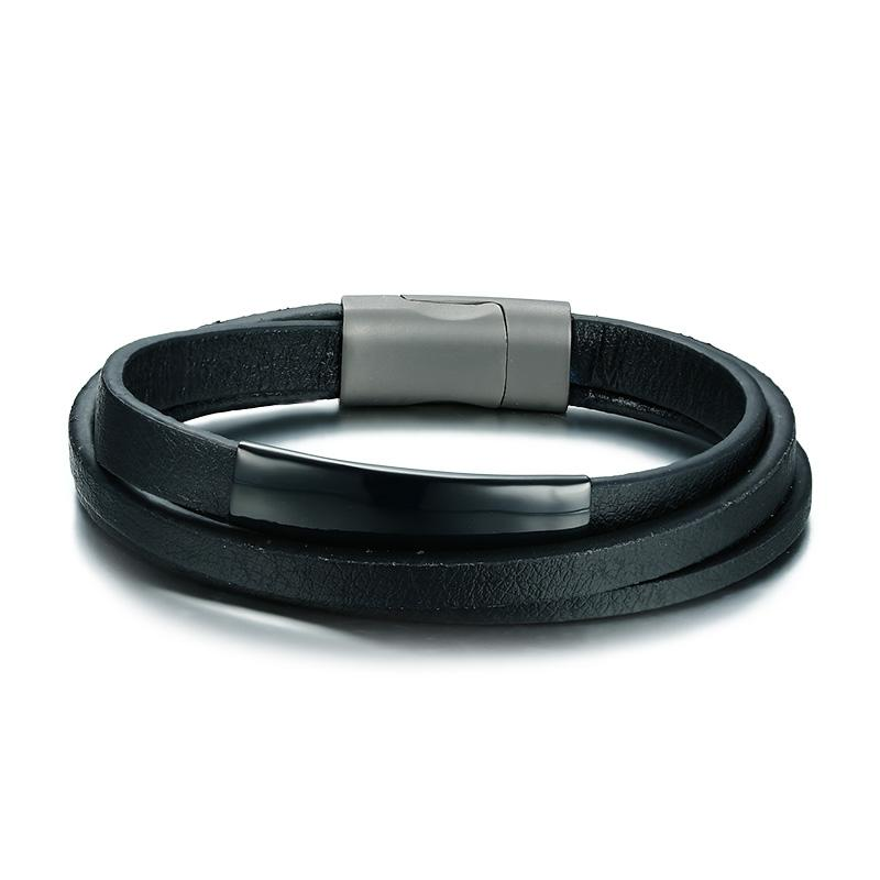 Black ID Tag Leather Bracelet