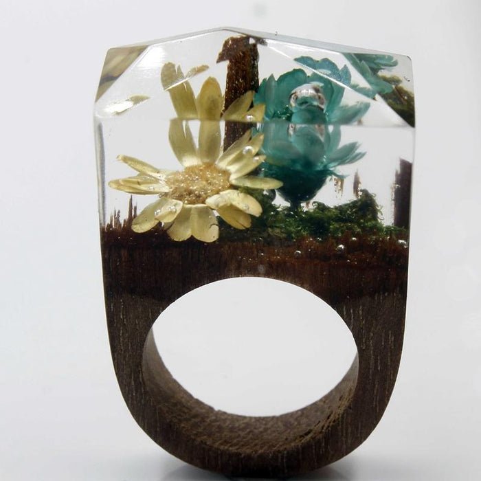 Deep Seascape Secret Forest Wood Ring