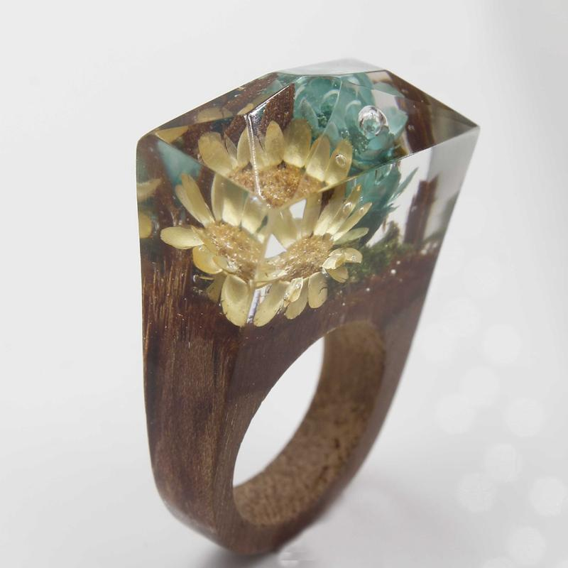 Deep Seascape Secret Forest Resin Ring
