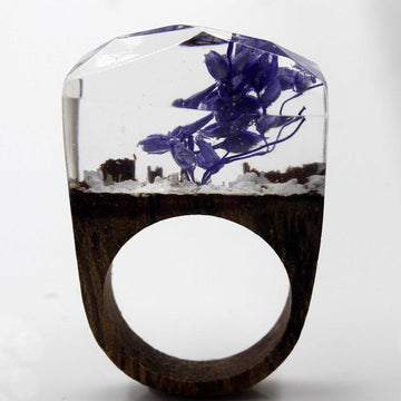 Purple Blossoms Secret Forest Resin Ring