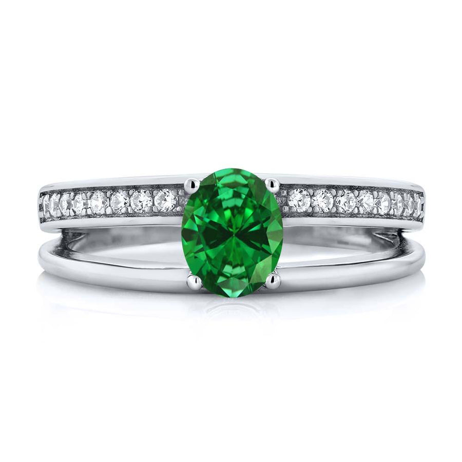 Alyson Oval Emerald & Zirconia Ring