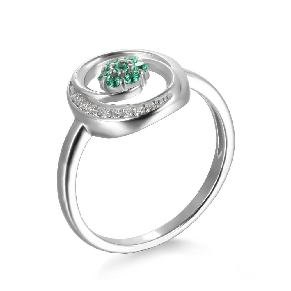 Alhertine Round Emerald & Zirconia Ring