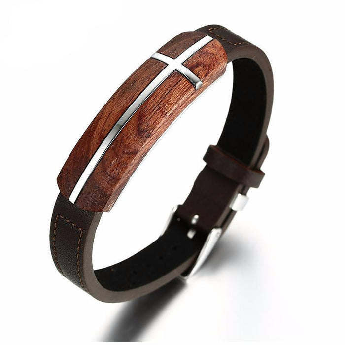 Rosewood Cross Leather Bracelet