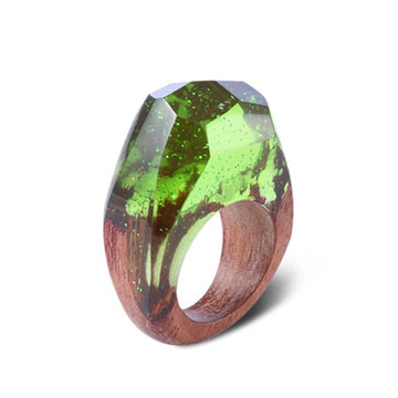 Green Moss Secret Forest Resin Ring