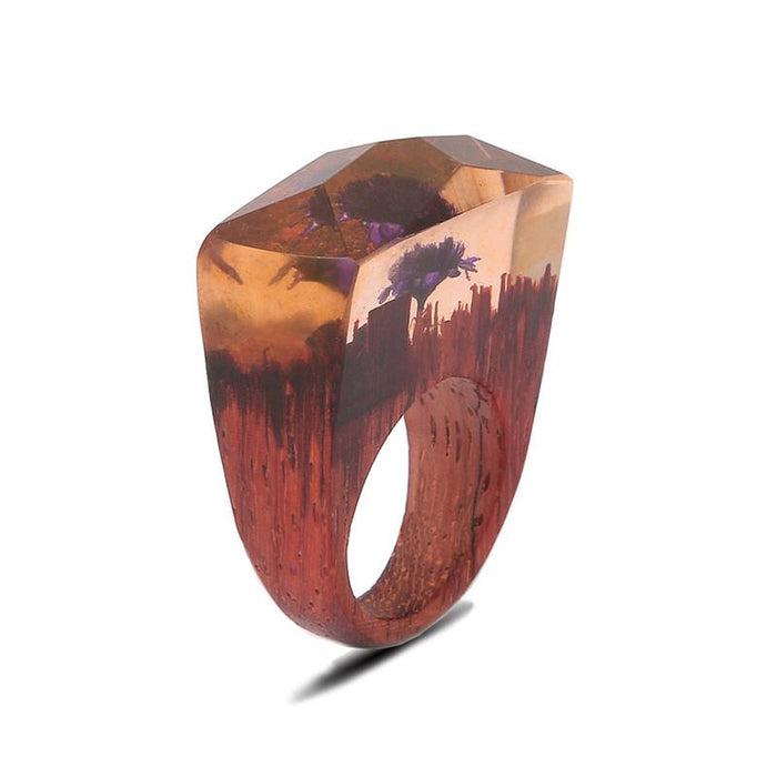 Autumn Sunset Secret Forest Wood Ring