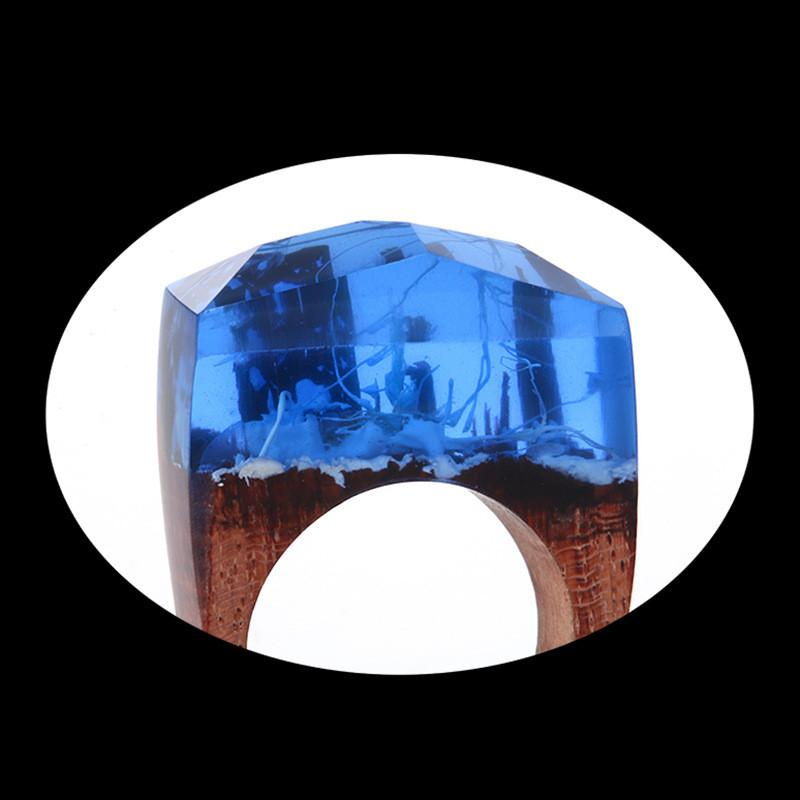 Blue Fire Secret Forest Resin Ring