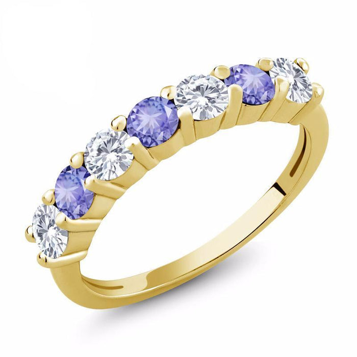 Created Moissanite Blue Tanzanite Ring