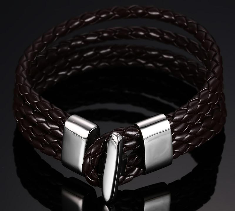 Four Layers Braided Leather Bracelet