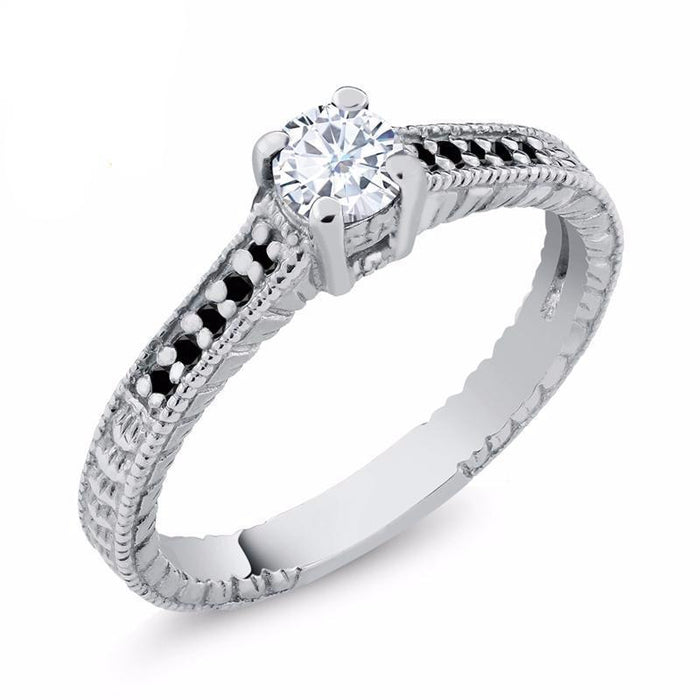 Black Diamond White Created Moissanite Ring
