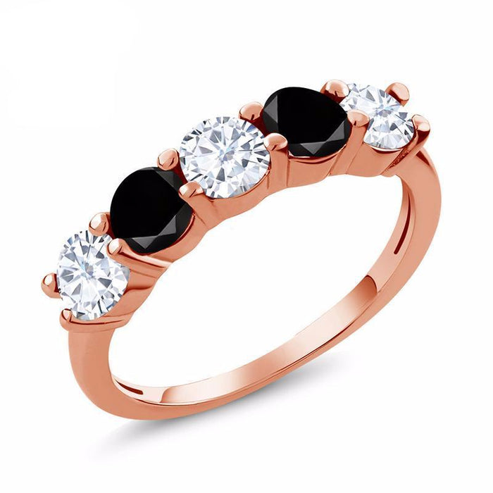 Black Diamond Round Moissanite Ring
