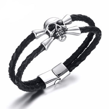 Single Skull Braided Leather Bracelet
