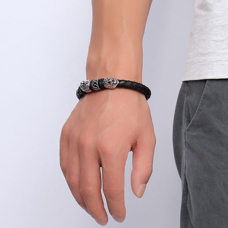 Double Lion Braided Leather Bracelet