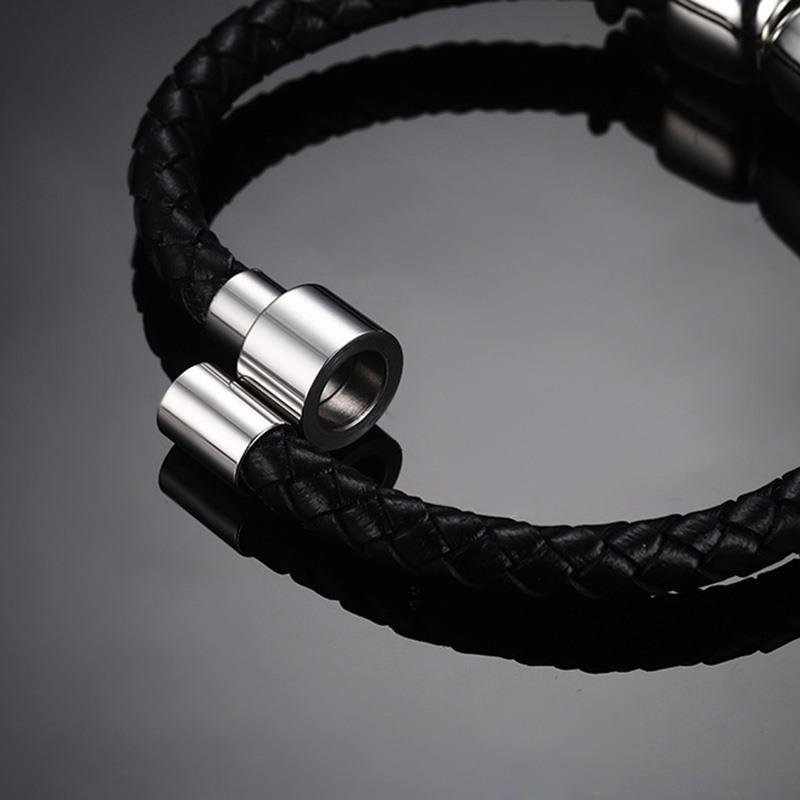 Double Skull Braided Leather Bracelet