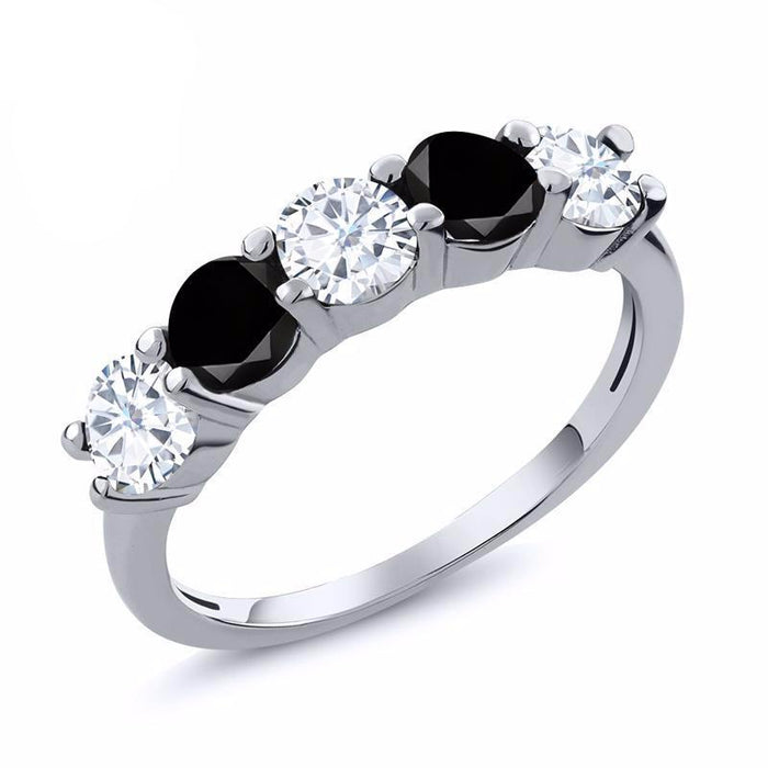 Black Diamond Created Moissanite Ring
