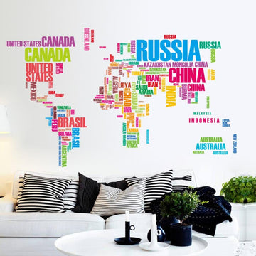 Large World Map Wall Stickers