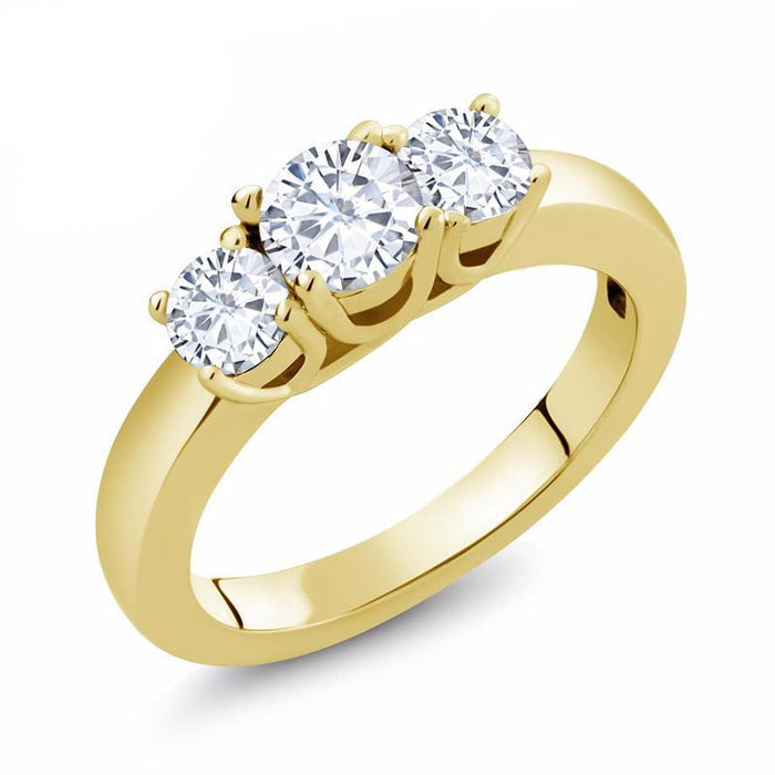 Yellow Gold Trilogy Moissanite Ring