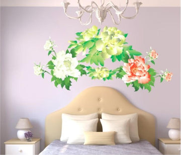 Peony Green Flowers Wall Stickers