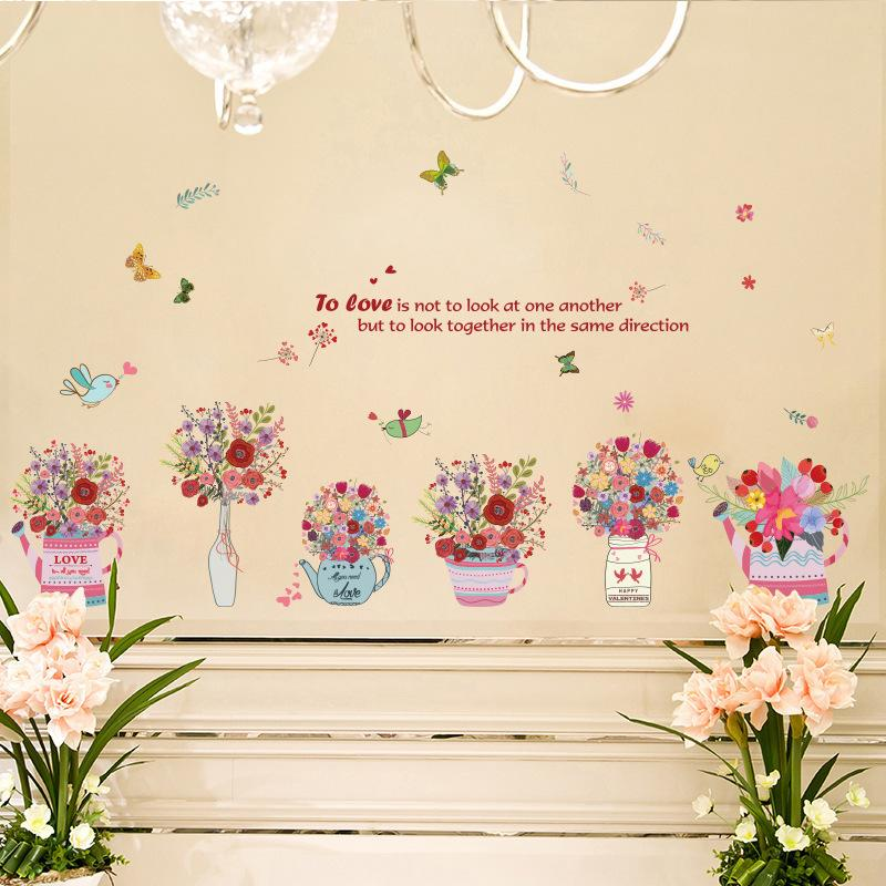 Hand Painted Flower Baskets Wall Stickers