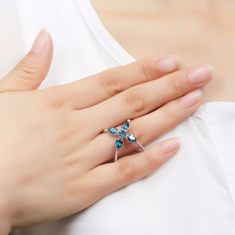 Bernelle Blue Pear Topaz Ring