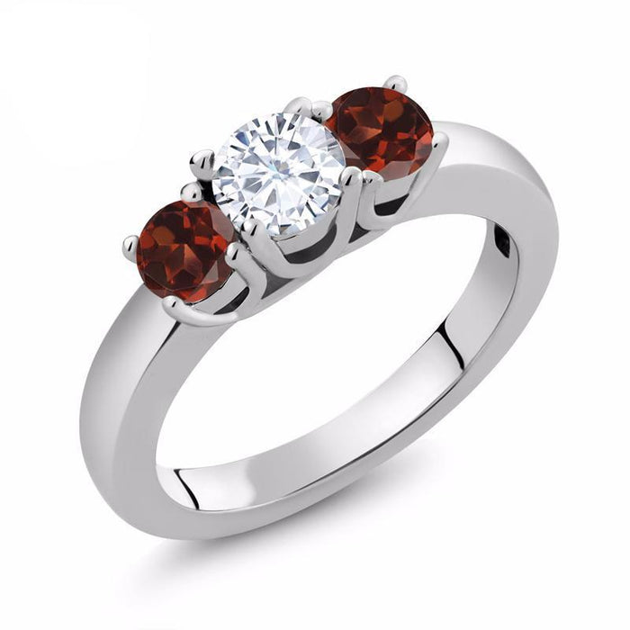Red Garnet Moissanite Ring