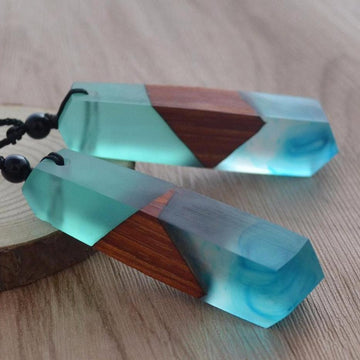 Smoky Blue Sky Wood Resin Necklace