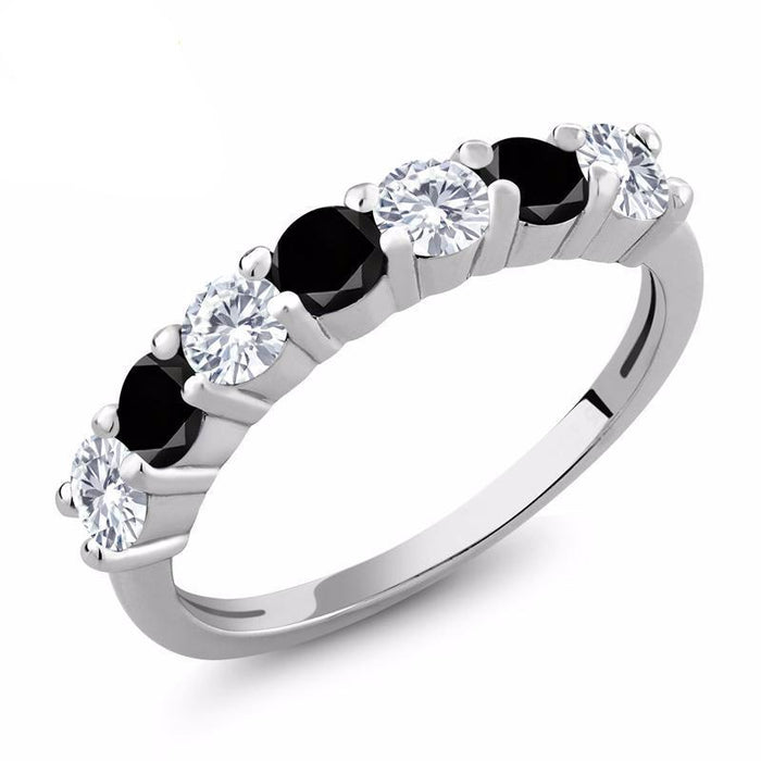 Round Black Diamond Created Moissanite Ring