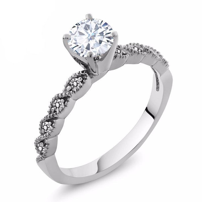 Round White Created Moissanite Diamond Ring