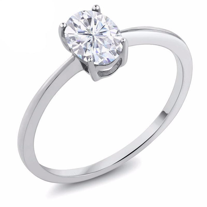 Oval White Created Moissanite Ring